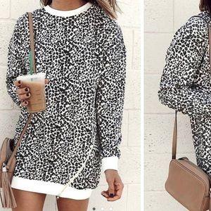 New Leopard Mini Sweater Dress w/ Side Zipper